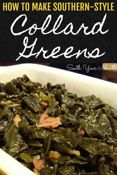 Southern Style Collard Greens Southern Style Collard Greens Step-by-step instructions for cooking authentic Southern collard greens. A step-by-step recipe for cooking the best authentic Southern collard greens. Quick Collard Greens Recipe, Crockpot Collard Greens, Mustard Greens Recipe Southern, Collard Greens With Bacon, Turnip Greens, Whole 30, Side Dish Recipes, Vegetable Recipes, Cauliflowers