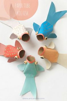 Paper tube koi fish recycled art ideas crafts for kids handmade toys lun idea exclusive picture of zoo animals coloring pages Kids Crafts, Creative Crafts, Decor Crafts, Easy Crafts, Craft Kids, Craft Art, Preschool Crafts, New Year Art, Toilet Paper Roll Crafts