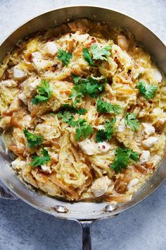 Spaghetti Squash Alfredo with Chicken and Caramelized Onions