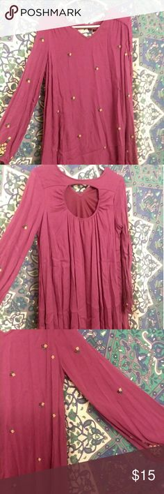 Purple long sleeve embroidered dress Size xl best fits l Never worn Embroidered with flowers  Tags: purple dress flowy bohemian cute tj maxx forever 21 f21 urban outfitters uo asos tillys iso poshmark #poshmarkfamous Dresses Midi