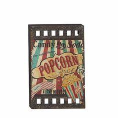 "Large 23"" Movie Theater Popcorn Media Room Wood Wall ART MODERN FILM REEL Studio"