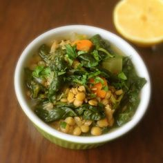 Lebanese Lentil Soup with Spinach Recipe – The Lemon Bowl - use veggie broth instead of chicken broth to make vegetarian
