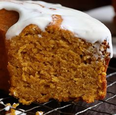 This Pumpkin Dessert melts-in-your-mouth! A simple Pumpkin Pound Cake recipe paired with a lovely Cream Cheese Glaze... you will be obsessed!