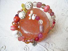Bracciale Bohemian pink, bracciale colorato  donna, gioielli colorati, idea regalo donna, boho bracelet, memory wire, spring boho