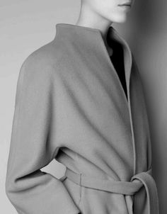 Chic Minimalist Coat, belted & buttonless with clean lines, understated style // Zara