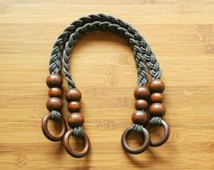 Pair of Brown Cord Bag Handles, with Wood Ring – 50cm (19.7'') by Imppar on Etsy