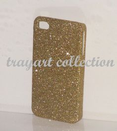 iphone 4 case or iphone 5 case. Gold sparkle glitter.