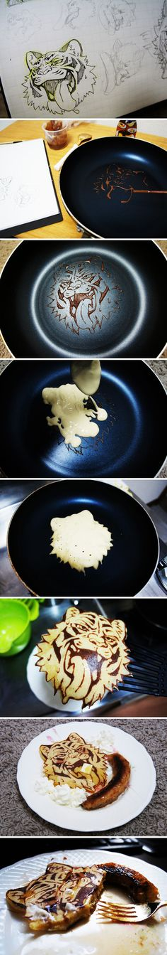 Amazing pancake art. THERE'S NO WAY IN THIS WORLD I WOULD EAT THAT. DUDE, THAT IS ART. FRAME IT!