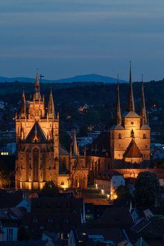 'Erfurter Dom @ night' von anneliese-photography bei artflakes.com als Poster oder Kunstdruck $16.63