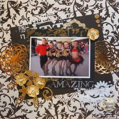 Chattering Robins blog has a great tutorial for this Scrapbook Layout for a Cheer or Dance Group