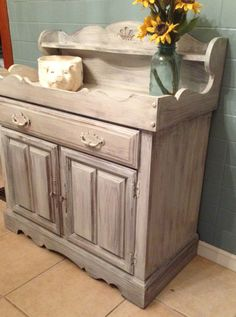 Dry sink updated with Grain Sack Miss Mustard Seed Milk Paint. Painted, and waxed ready to be used for the holidays.