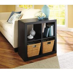 Cube Organizer at end of couch for end table and storage. Better Homes and Gardens Square 4-Cube Organizer, Multiple Finishes.