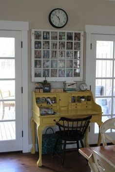 Love the yellow desk and the old window frame/photo frame above it. This would look great in the room. if only I could somehow get and afford this exact desk! Decor, Furniture, House Design, Room, House, Interior, Home, House Styles, Interior Design