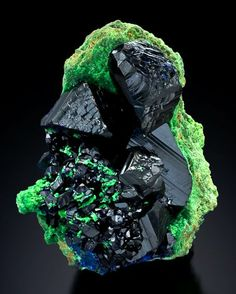Midnight blue Azurite and neon green Arsentsumebite.  From Tsumeb mine, Tsumeb, Otjikoto Region, Namibia