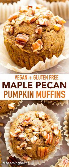 Vegan Gluten Free Desserts, Gluten Free Pumpkin, Gluten Free Baking, Pecan Recipes, Pumpkin Recipes, Healthy Sweets, Healthy Baking, Healthy Fall Recipes, Easy Recipes