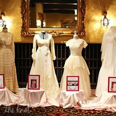 This is also something I am doing when I know if there will be enough space for it - these are family wedding gowns on display with photos (I'm going to do something more interesting with the photos), but maybe there's a place for some more ideas here? Grandma Dress, Mom And Grandma, Old Wedding Dresses, Wedding Gowns, Wedding Dress Display, Princess Wedding, Family History, Mother Of The Bride, Floral Wedding