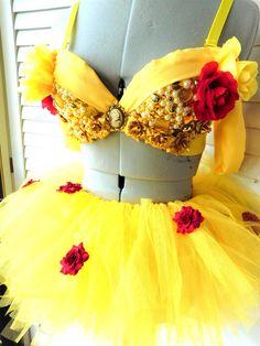 Princess Belle Beauty and the Beast Rave Bra Costume by BelleBandz