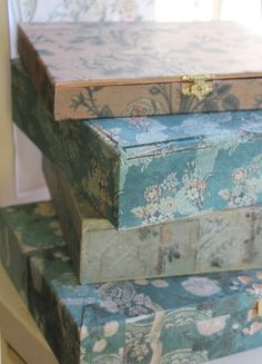 ~ pretty wallpaper-covered boxes - cover craft boxes with vintage wallpaper