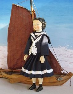 "Bitty Hitty Sailor - Hand Carved Peg Wood Doll 4.75"" by A&H"