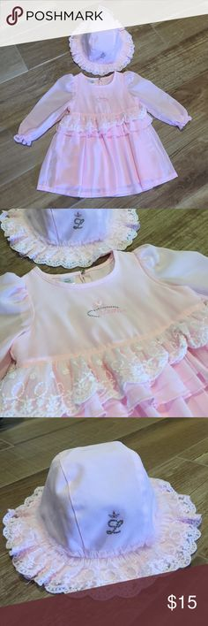 Little girl sweet dress with hat Very cute and comfy dress never use. Wacoal Dresses