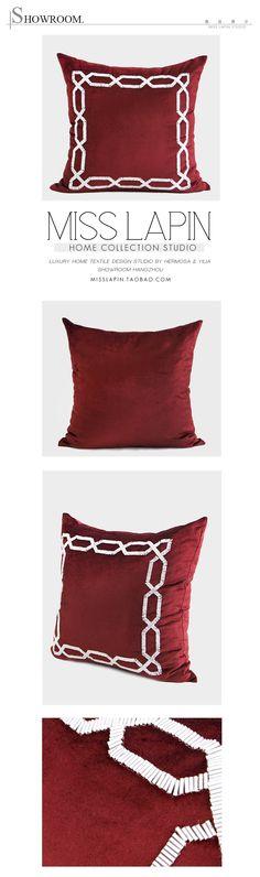 MISS LAPIN澜品家居/新古典/样板房沙发靠包抱枕/红色边框立体手工绣珠方枕pillow /cushion /cushion cover-淘宝网