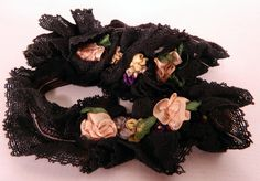 Vintage 1920s Black Lace Silk Rosette Ribbon Work Flowers Flapper Girl Garters | eBay