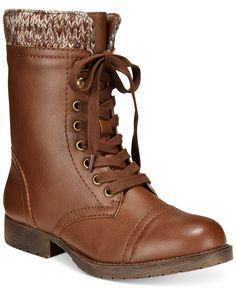 Rampage Jeliana Lace Up Combat Booties - Boots - Shoes - Macy's