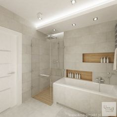 House in Ożarów Mazowiecki project Bad Inspiration, Bathroom Inspiration, Small Bathroom Layout, Bathroom Tub Shower, Attic House, Bathroom Design Luxury, Home, Luxury Kitchens, Future