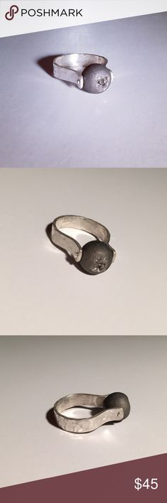 Druzy Agate Sphere & Hammered Sterling Silver Ring Handmade matte hammered Sterling silver band with a sparkly gunmetal Druzy agate bead center stone. New, no tags and not marked 925 because it was handmade by me. jewelee1 Jewelry Rings