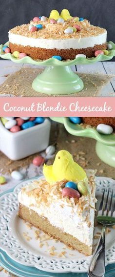 Coconut Blondie Cheesecake - a coconut blondie topped with no bake coconut cheesecake and toasted coconut! Perfect dessert recipe for Easter!