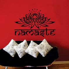 Wall Decal indiano Yoga Namaste parole Lotus fiore di CozyDecal