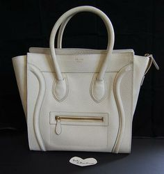 1350 Drummed Ivory Off-white Celine Mini Luggage bag! Authentic and in  good pre-owned condition at Lollipuff! bbd2c9d46b