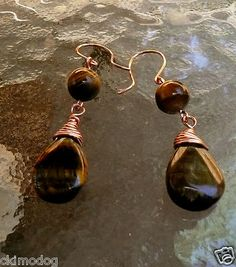 Image not available  Click to view larger image  Enlarge                               Genuine Teardrop Tigers Eye And Copper Wire Wrap Earrings  $13.99