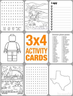 3x4 activity cards for kids - free printables for road trips, plane travel, or waiting at a restaurant