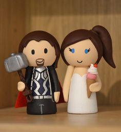 Items similar to Wedding Cake Topper - Superhero Thor Groom & Ice Cream Bride on Etsy Superhero Cake Toppers, Wedding Bride, Our Wedding, Personalized Wedding Cake Toppers, Cake Table, Mouse Ears, Handmade Items, Handmade Gifts, Thor