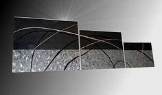 Tableau peinture tryptique gris noir argent design pau-art