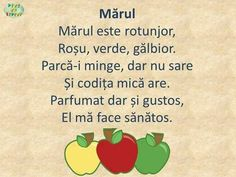 Mărul- poezie Teaching Activities, Autumn Activities, Preschool Activities, Preschool Fine Motor Skills, Experiment, Kids Poems, Math Journals, Tot School, Worksheets For Kids