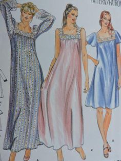 Your place to buy and sell all things handmade Lingerie Patterns, Vintage Dress Patterns, Vintage Dresses, Maternity Sewing, Nightgown Pattern, Vintage Nightgown, Muumuu, Nightgowns For Women, Costume Patterns