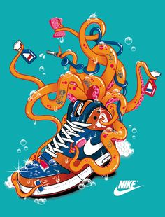 "Nike t-shirt April 2012 ""Octopus"" by Rubens Cantuni, via Behance"