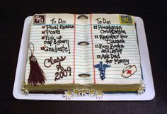 Graduation - 1/3 sheet cake carved slightly to resemble an open notebook: the left side dedicated to graduating high school and the right side to the college she will be attending in the fall. all buttercream except for binder rings and flowers which are fondant.
