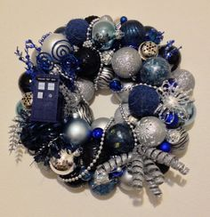 Doctor Who Tardis Christmas Ornament Wreath