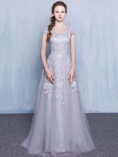 Fabulous A-line Scoop Neck Tulle Appliques Lace Floor-length Short Sleeve Prom Dresses £109.99