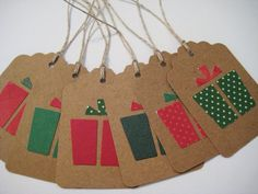 Christmas present kraft gift tags set of 6 by ThePinkDillo on Etsy, $3.00