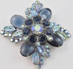 Vintage JULIANA D&E BLUE Art Glass, CAB, Rhinestone & AB Brooch BOOK PIECE