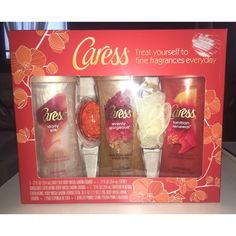 """CARESS BODY WASH GIFT SET ***BRAND NEW NEVER OPENED OR USED!*** And absolutely adorable body wash set! What's included? A jeweled Pumice Stone A loofa Silkening Body Wash in """"White Peach & Silky Orange Blossom"""" Exfoliating Body Wash in """"Burnt Brown Sugar & Karite Butter"""" Exfoliating Body Wash in """"Pomegranate Seeds & Coconut Milk Essence"""" Caress Makeup"""