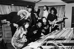 "Joe and Steven in the studio with Run DMC, recording DMC's version of ""Walk This Way""."