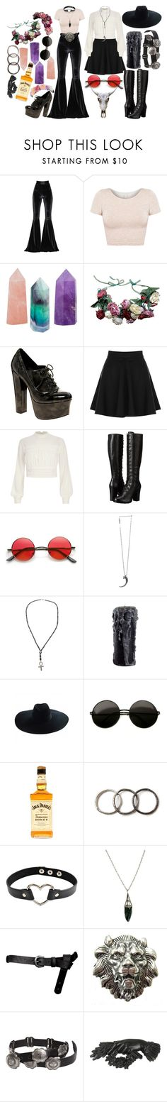 """""""There be witches"""" by this-is-my-name-i-suppose ❤ liked on Polyvore featuring Faith Connexion, American Apparel, ASOS, Oasis, River Island, Frye, Pamela Love, Rask, Yves Saint Laurent and Pearls Before Swine"""