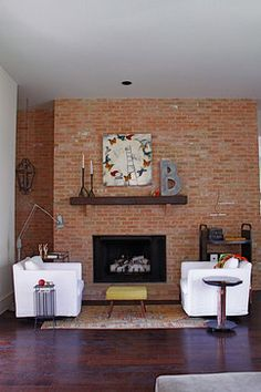 Red Brick Fireplace Design Ideas, Pictures, Remodel, and Decor - page 4