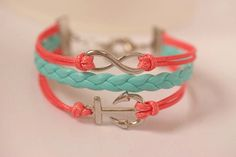 Infinity bracelet, anchor bracelet , cute charm, mint&coral color,Christmas gift, birthday gift.