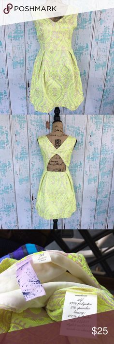 Alya Francesca's back cut out sundress Alya Francesca's back cut out sundress size medium. Fluorescent yellow, lavender, and gray color. Francesca's Collections Dresses Backless